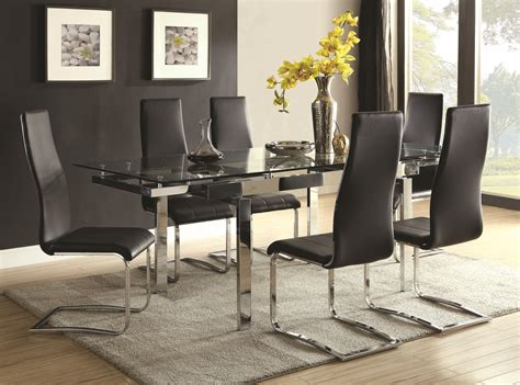 coaster modern dining contemporary dining room set glass table city furniture dining piece sets