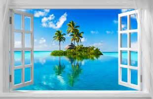 Japanese Garden Wall Murals beautiful tropical island window view a3 canvas print