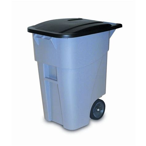commercial trash cans rubbermaid commercial products brute 50 gal grey rollout trash can with lid fg9w2700gray the