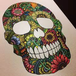 Sugar Skulls With Flowers - zentangle skull colored version plz check the making mov