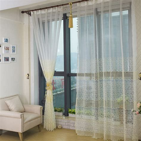 Bedroom or living room white sheer curtains with light