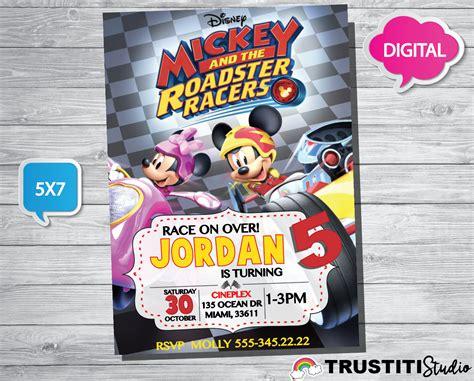 printable movie invitations mickey and the roadster racers invitation mickey and the