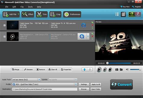 format audio quicktime aiseesoft quicktime video converter screenshot x 64 bit