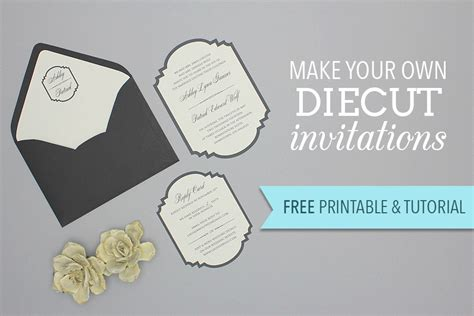 die cut templates free diy diecut wedding invitation