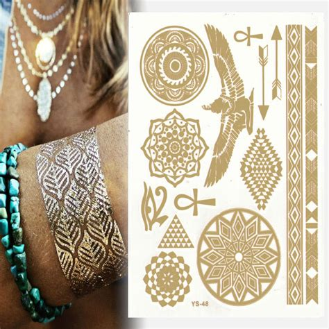 gold henna temporary tattoo diy metal gold stickers waterproof golden tattoos