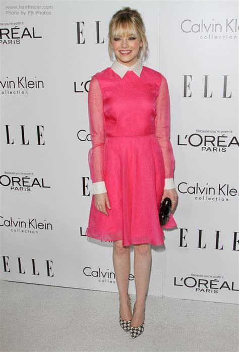 emma stone pink dress emma stone with loosely up styled hair with tendrils on