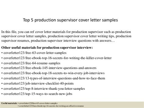 Production Trainer Cover Letter by Top 5 Production Supervisor Cover Letter Sles