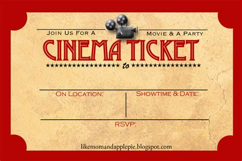 free printable movie tickets invitations favorite movie night party ideas decor to adore