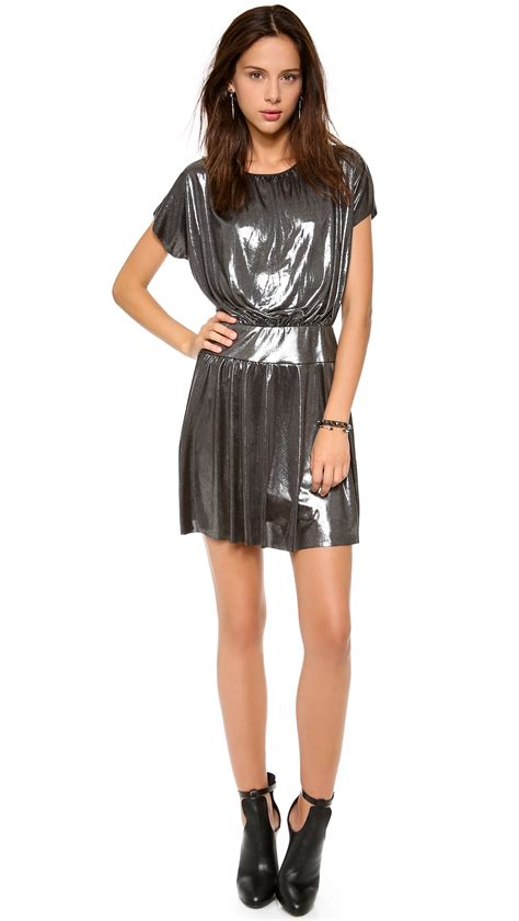 Minidres S Losangels tbags los angeles sleeve mini dress in silver