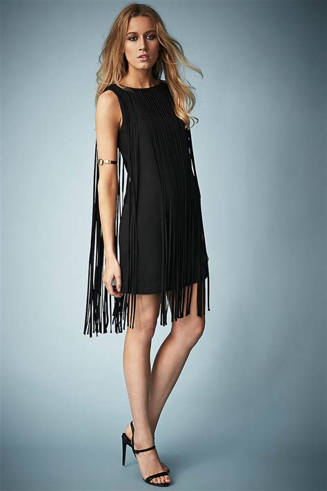 Kate Moss Premieres Dresses For Topshop by Topshop Fringe Tassel Dress By Kate Moss For In Black