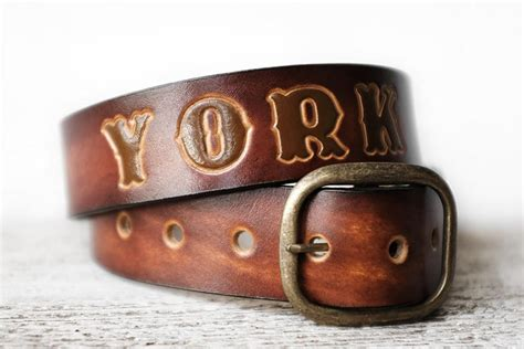 personalized leather belt in antiqued sunburst brown exsect