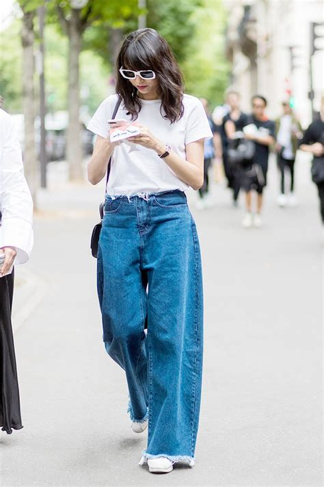 ways  wear wide leg jeans  work   wear
