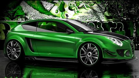 car wallpaper green green cars alfa romeo tuning 3d wallpaper allwallpaper