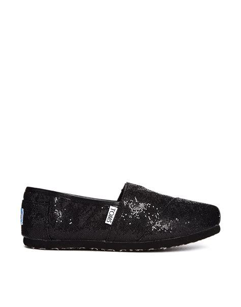 toms classic black glitter flat shoes toms classic black glitter flat shoes shopping