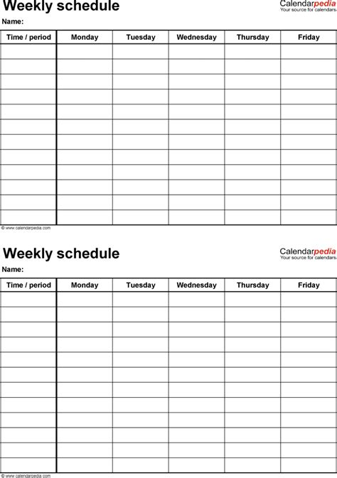 5 day weekly calendar template free weekly schedule templates for pdf 18 templates
