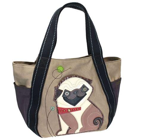 pug purse chala purse handbag leather canvas carryall tote bag playful pug puppy