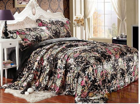 Black Floral Bedding Sets Black Floral Silk Satin Luxury Bedding Comforter Set King Size Duvet Cover