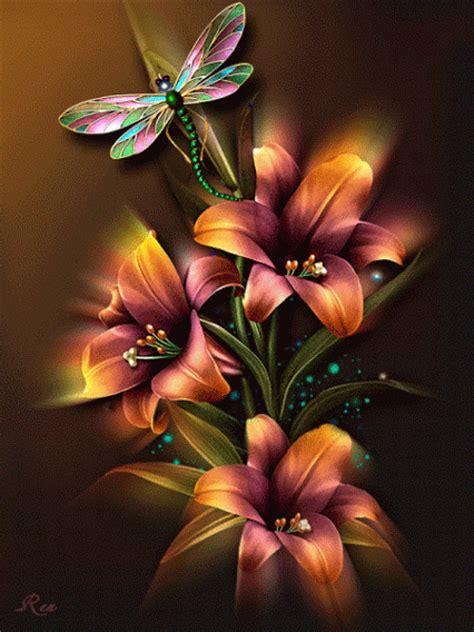 imagenes gif de flores animaciones con rosas o flores con brillo y destello