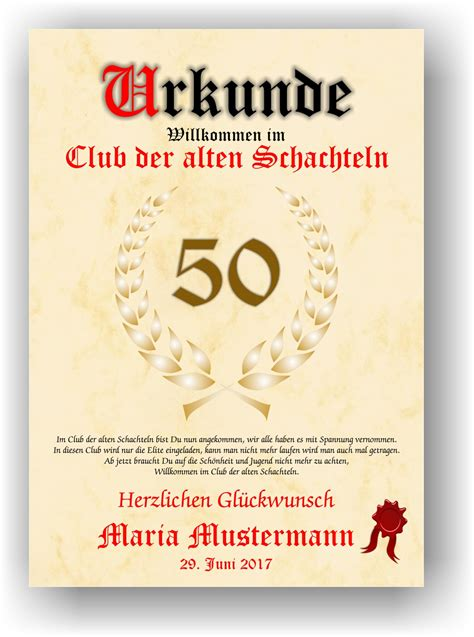 Kostenlose Vorlage Alte Schachtel urkunde club der alten schachteln 18 20 30 40 50 60