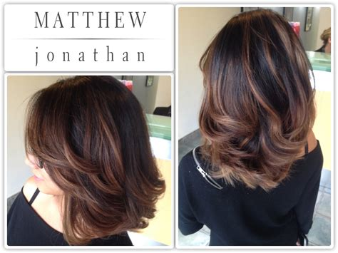 brown sombre medium hair style matthew jonathan hairstylist oakville hair salon hair