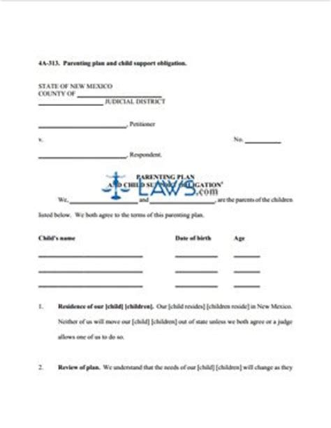 Form 4a 313 Parenting Plan And Child Support Obligation New Mexico Forms Laws Com Parenting Plan Template Illinois