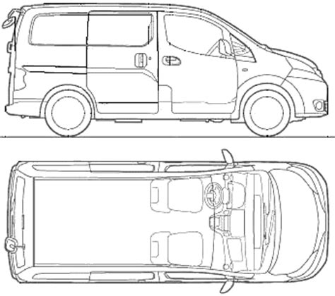 nissan nv200 template car blueprints nissan nv200 vanette blueprints vector