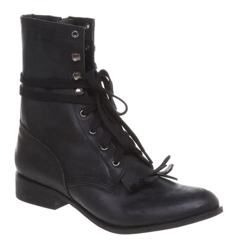 jeffrey cbell acme lace up kiltie boot black leather in
