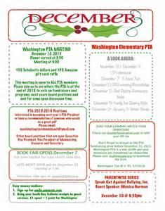 December Newsletter Template by 30 187 November 187 2015 187 Washington Elementary Pta