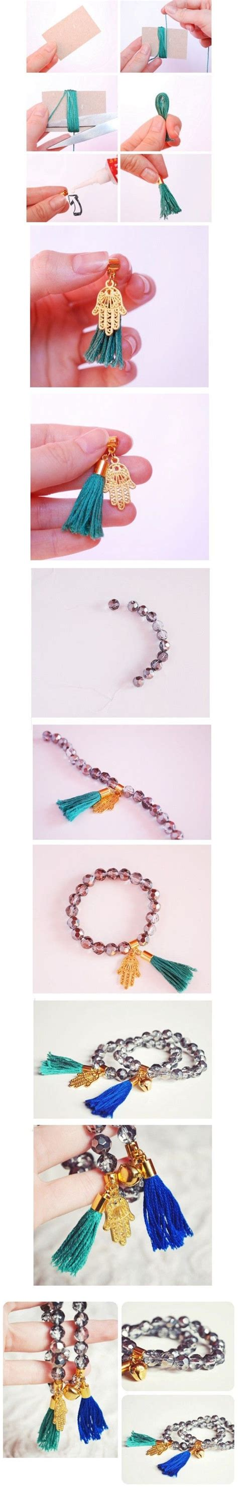 Gelang 8 Gold Tassel Bracelet diy silver and gold bracelets with tassels diy creative ideas craft accessories