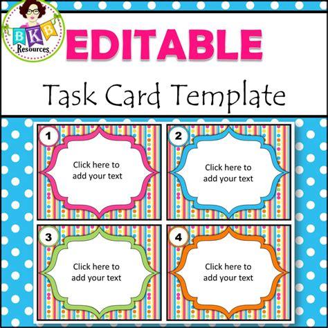 Editable Task Card Templates by Editable Task Card Templates Bkb Resources