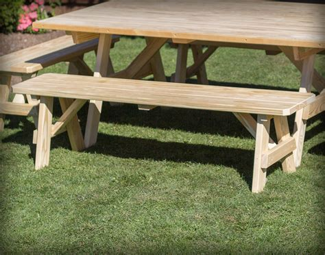 traditional benches treated pine wide picnic table w traditional benches