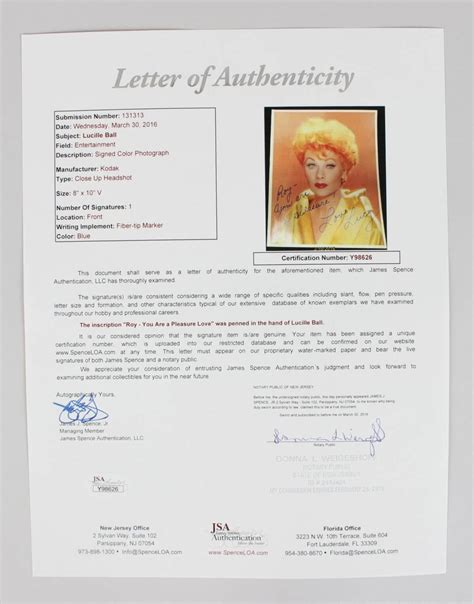 Jsa Award Letter From Jcp I Lucille Signed Inscribed 8 215 10 Photo Jsa Loa Ebay