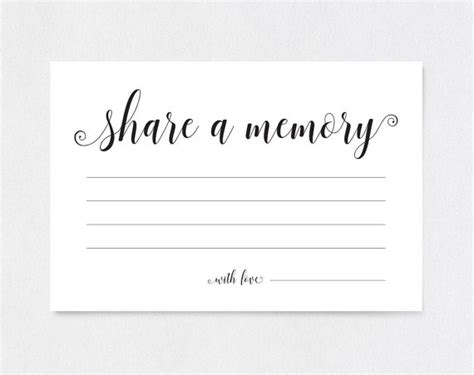 Memory Cards Funeral Template by A Memory Card A Memory Printable Memory