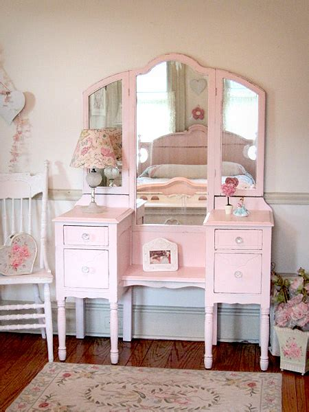 Pink Vanity by Sweet Pink Antique Vanity With Tri Fold Mirror Decora