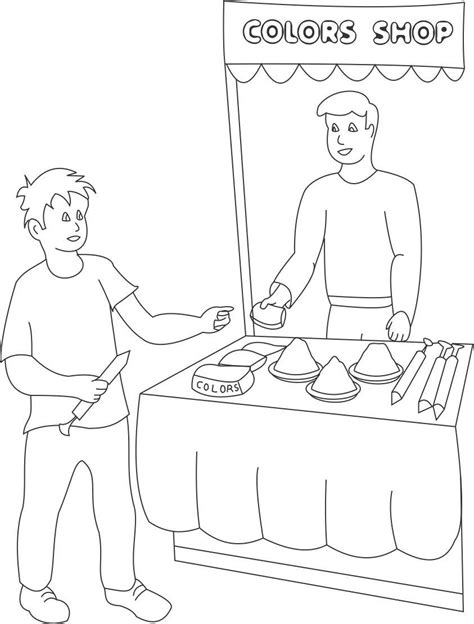 How To Draw Village Scene Coloring Pages Market Coloring Pages