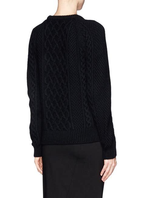 Sweater Dc Block Skull mcqueen skull cable knit sweater in black lyst