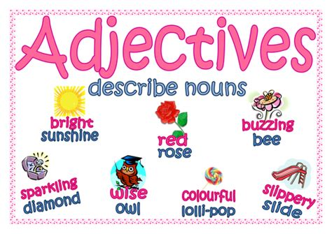 free printable adjective poster adjectives poster with pictures by lynellie teaching