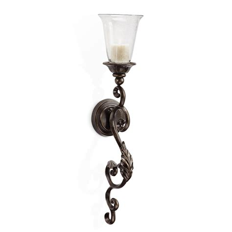 Iron Candle Wall Sconce Spi Leaf And Scroll Wall Sconce 34045