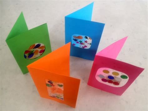 card crafts for colourful window greeting card craft