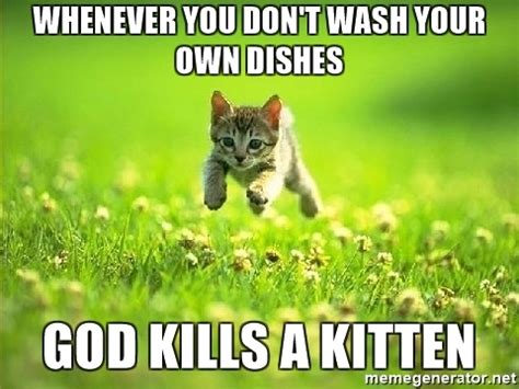 Do Your Own Meme - whenever you don t wash your own dishes god kills a kitten