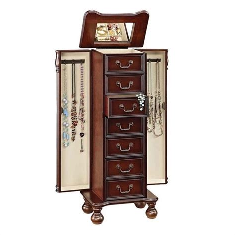 furniture jewelry armoire acme furniture lopez jewelry armoire in cherry 97006