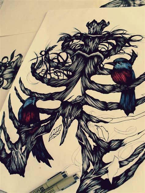 cat tattoo rib cage crow on a rib cage bird rib cage i daydream in ink