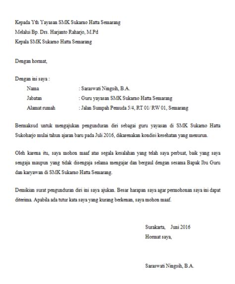 format surat pengunduran diri kepala sekolah aneka contoh surat pengunduran diri portal ilmu com