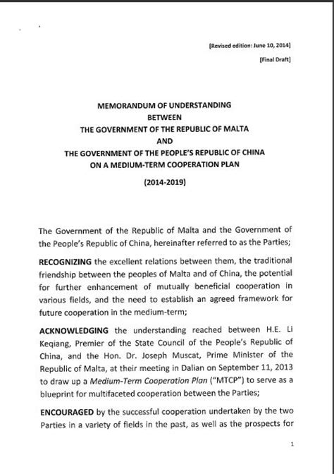 The Mou Between The Government Of Malta And China S Communist Dictatorship Here It Is Daphne Mou Contract Template