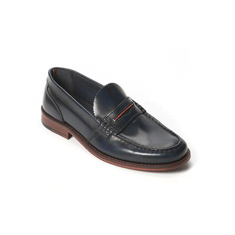 hilfiger loafer shoes hilfiger leather loafer in black for