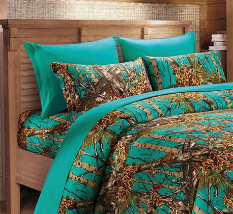 Teal Camo Sheet Set Twin Size Bedding 3 Pc Camouflage Blue Green Turquoise Ebay