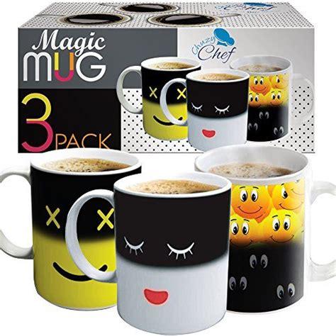 Coffee Magic set of 3 magic heat sensitive coffee mugs color changing