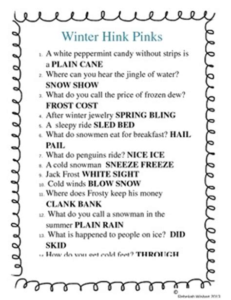 Hink Pink Worksheets by Winter Hink Pinks By Wizard Ways In Second Grade Tpt