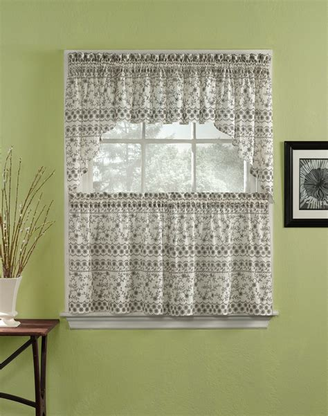 kitchen curtain panels eyelet 3 piece kitchen curtain tier set curtainworks com