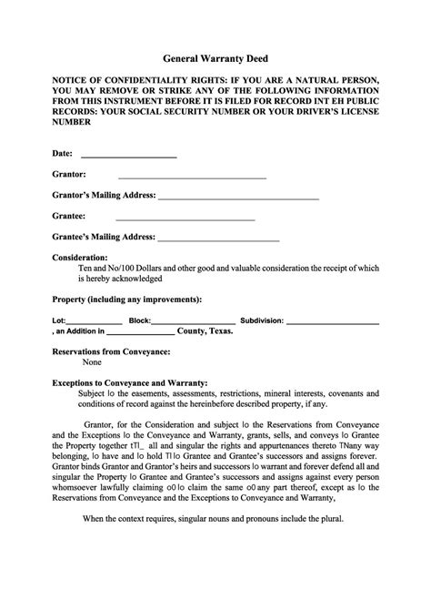 special warranty deed template 40 warranty deed templates forms general special
